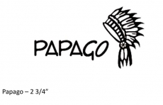 PAPAGO logo iron on transfer 2 3/4 inches Black